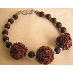 Sandalwood and Rudraksha Bracelet in Silver