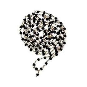 Black Tulsi Mala in Silver (54 Beads)